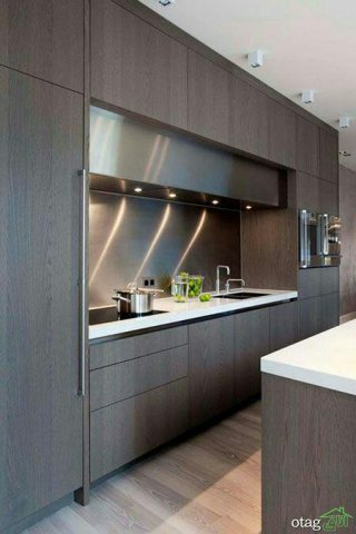 کابینت آشپزخانه mdf و های گلاس و چوبی